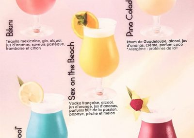 Carte cocktails avec alcool
